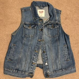 Distressed denim vest size XL